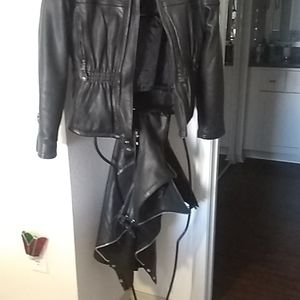 Leather jacket and chaps